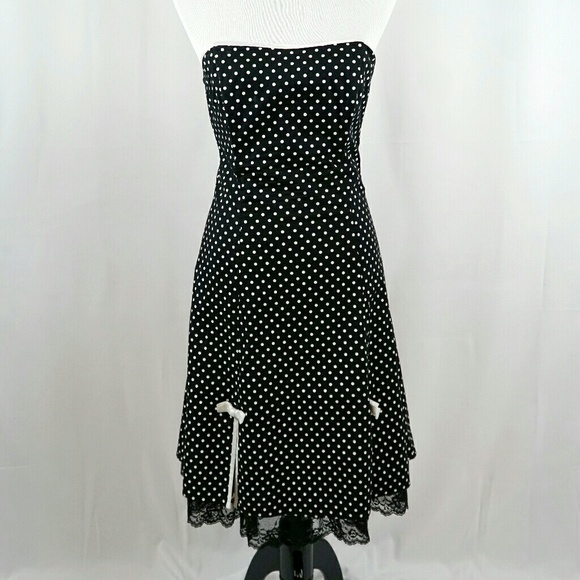Byer Too Dresses Strapless Black White Polka Dot Dress W Lace